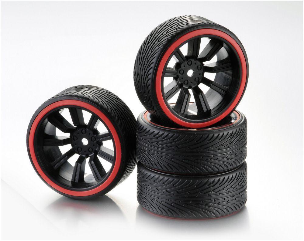 Train de roues Drift 9-Rayon Profile B Jante noir/Bague rouge 1:10 (4)