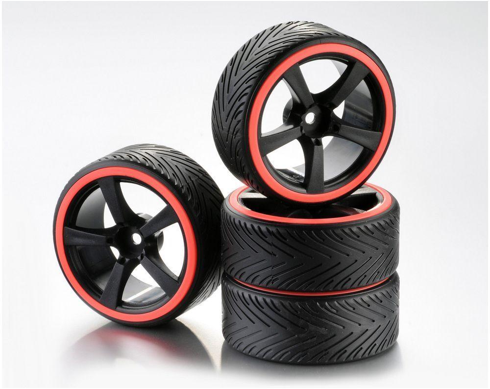 Train de roues Drift 5-Rayon Profile A Jante noir/Bague néon orange 1:10 (4)
